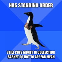 Socially Awkward Christian Penguin and the collection plate