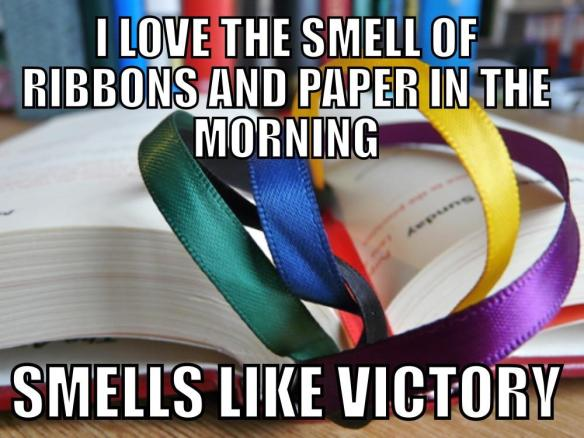 I love the smell of ribbons and paper in the morning