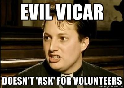 evil vicar volunteers