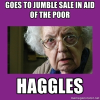 Grumpy Parishioner at the Jumble Sale