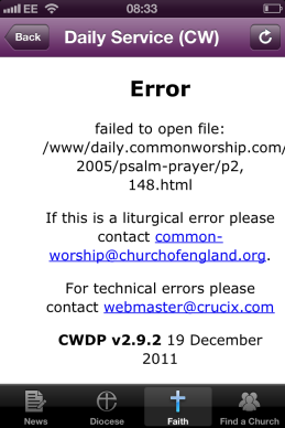 Liturgical app error