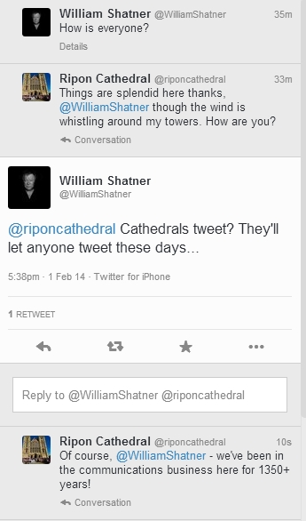 Mission 'Final Frontier': Cathedral meets Kirk on Twitter